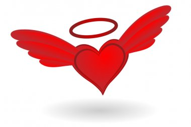 Holy Heart with wings and Nimbus vector illustration. clip art vector