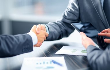 Business shaking hands in office stock vector