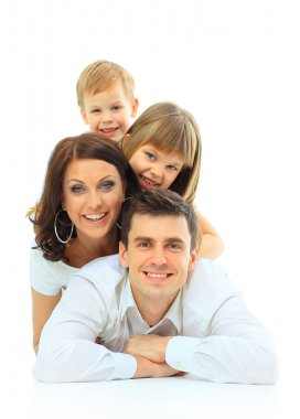 Beautiful happy family - isolated over a white background