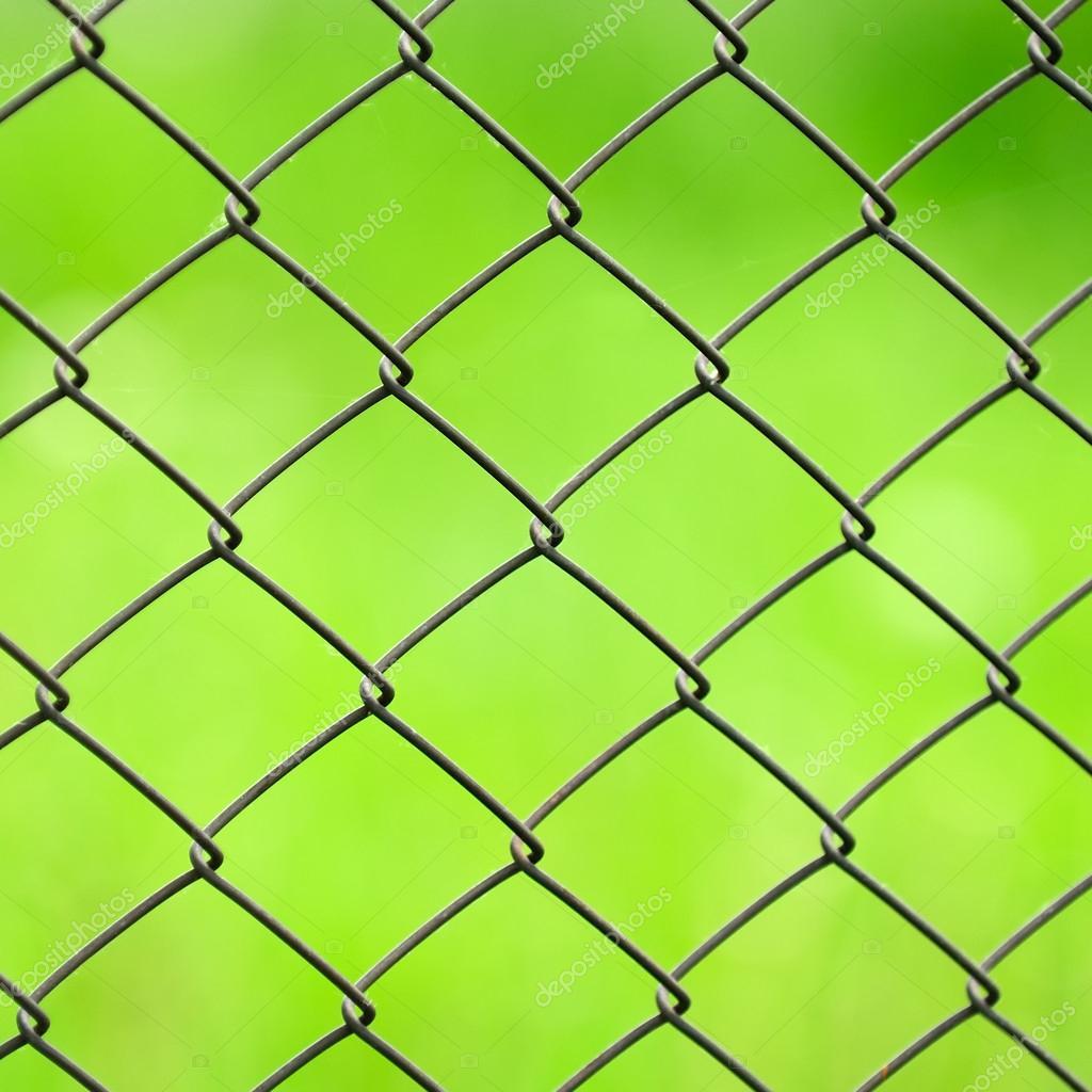 Gitter Zaun Nahaufnahme auf grünem Hintergrund — Stockfoto