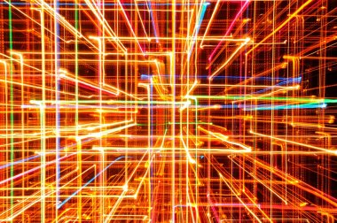 3D Abstract Bright Multicolored Glowing Lines as Background