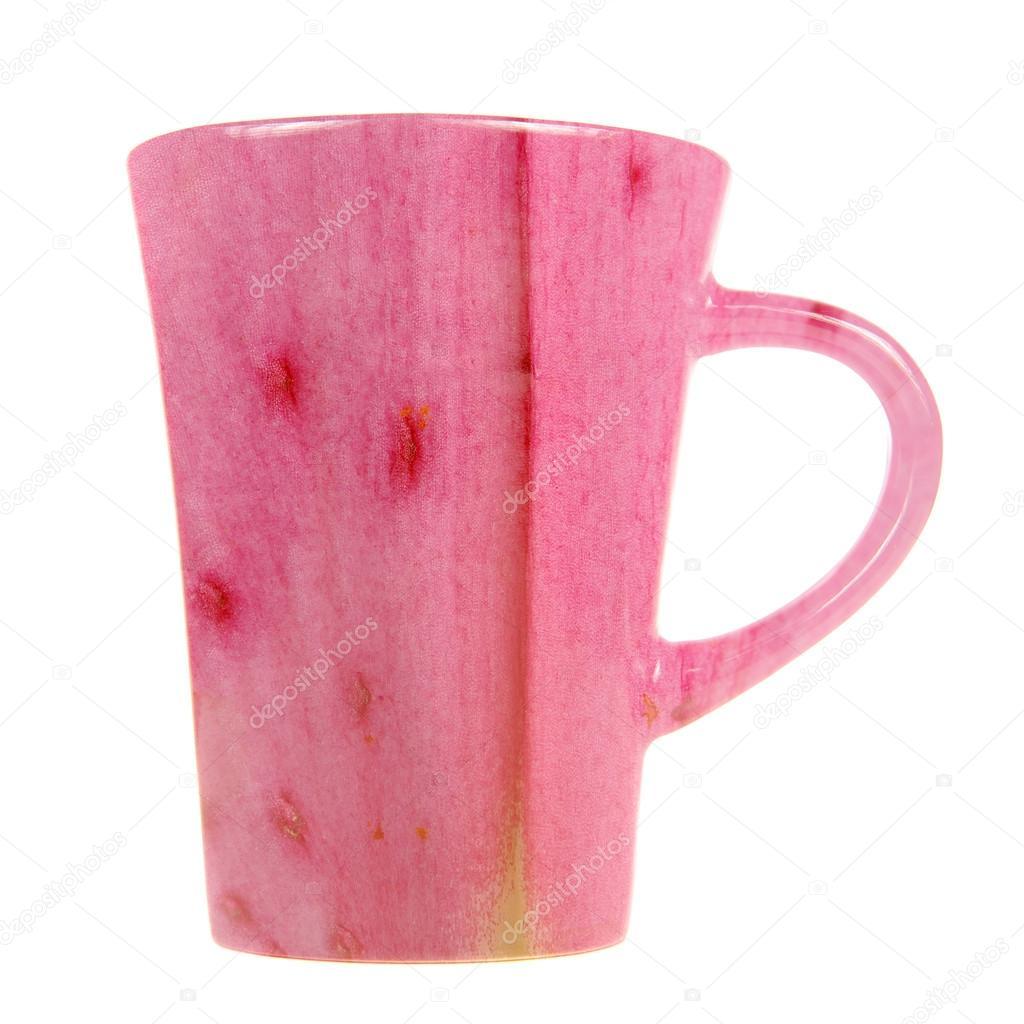 Tasse Avec Petale De Fleur Rose Imprimer Isole Sur Fond Blanc