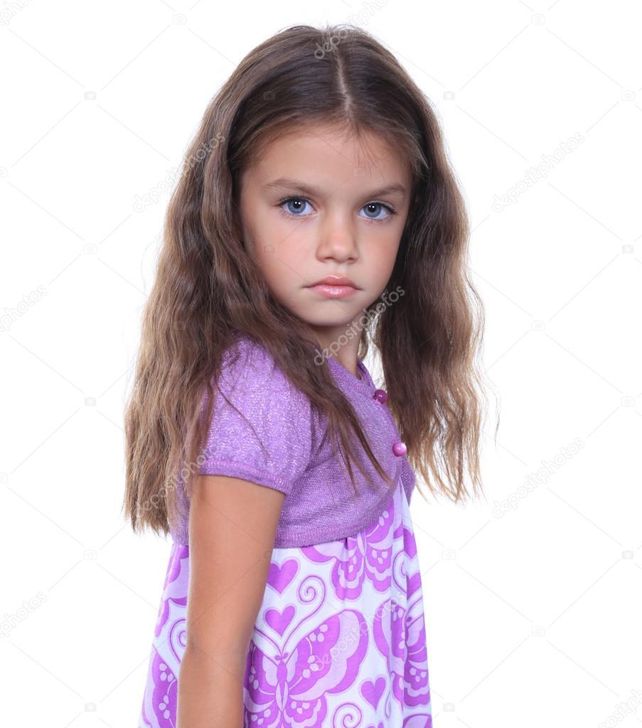 closeup portrait of pretty little girl stock photo
