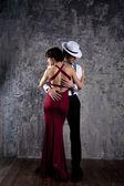 Fotografie Paar aus professionellen Sängern im retro-Stil