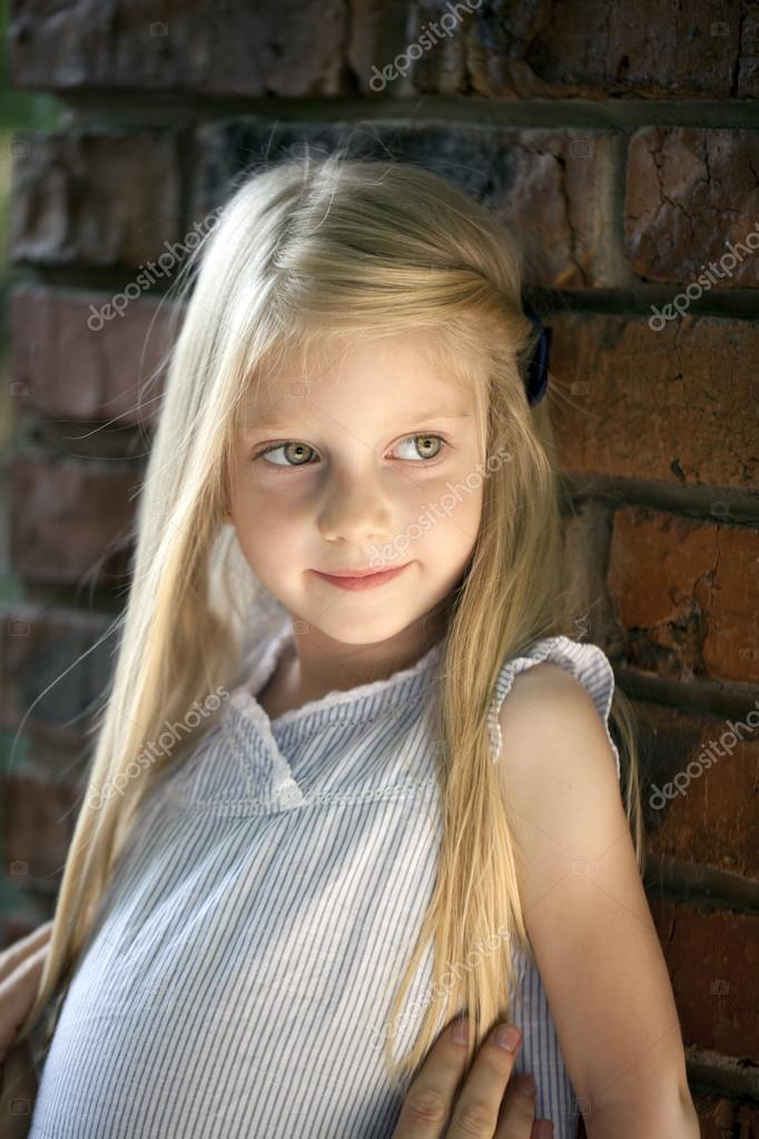 Portrait Of A Beautiful Blonde Little Girl Three Years  Stock Photo  Arkusha -3254