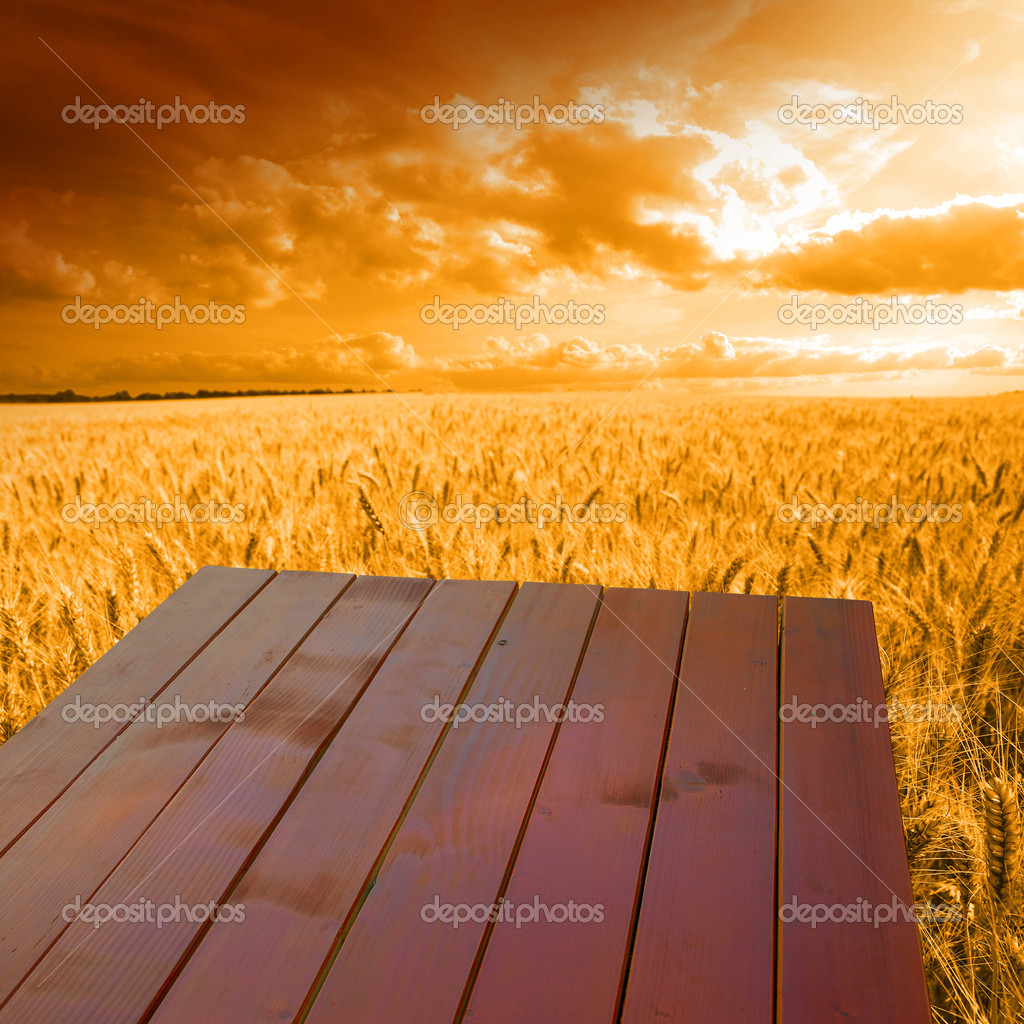Wooden table on the field