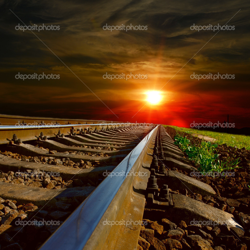 railways at the sunset