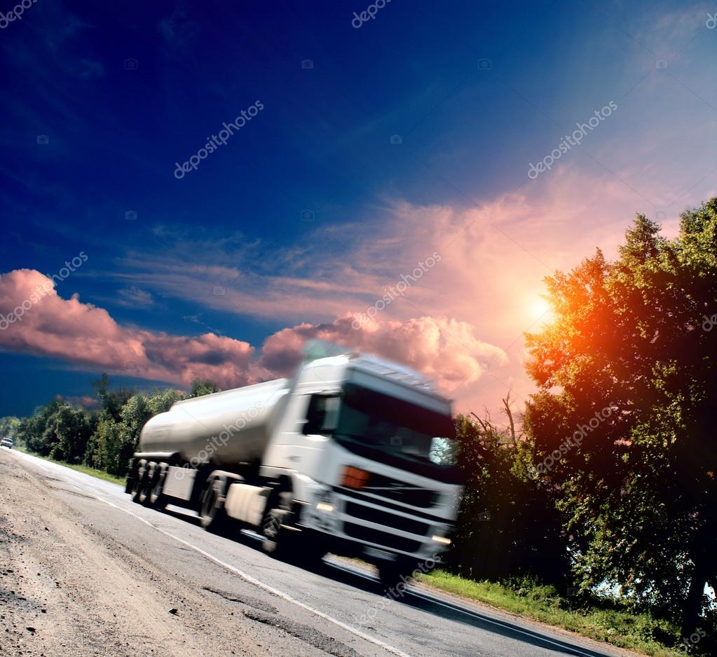 truck on the asphalt road