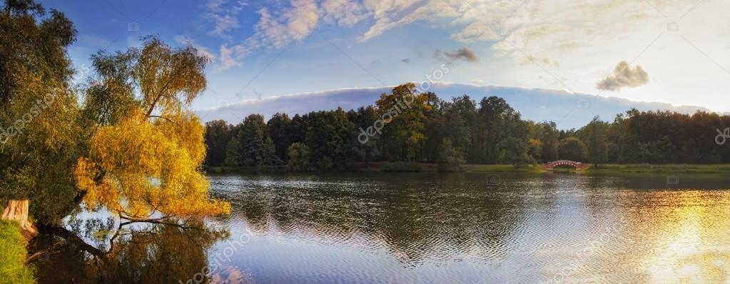 Autumn panorama with water