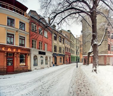 Winter street of old town Riga