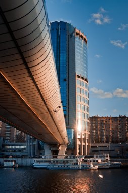 Moscow City district and bagration bridge