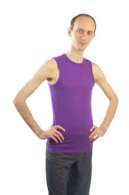 Tall thin man in violet t-shirt