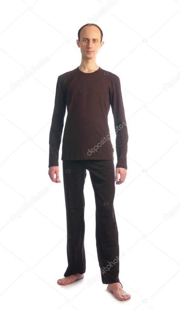 Thin tall man on brown shirt