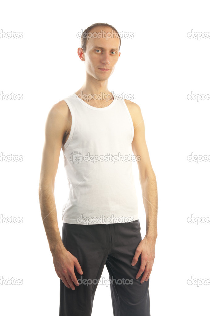Thin tall man on white T-shirt — Stock Photo © nanka-photo ...