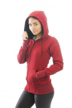 Indian woman in red sweatshirt and hood