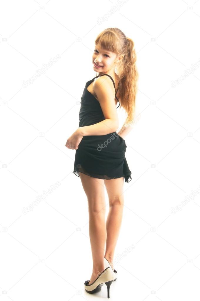95b76f58e75 Little girl in big shoes | Cute little girl in big shoes — Stock ...