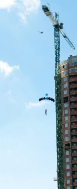 B.A.S.E. jumping from crane