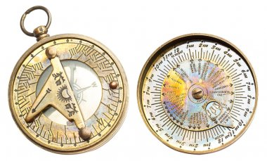 Vintage clock with time zones and compass