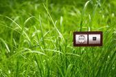 Elektrické zásuvky v grass.ecology čistá elektřina koncept
