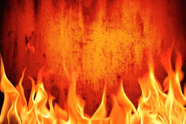 Grunge fire wall background