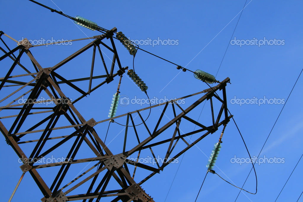Electric pylon with a blue sky background