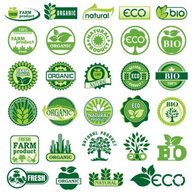 Set vector labels and emblems of ecology and environment stock vector