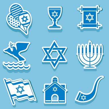 Set vector icons of israel sign and symbol stock vector