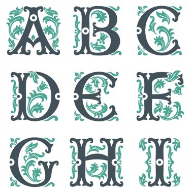 Vector set of letters in the old vintage style. Part 1 stock vector