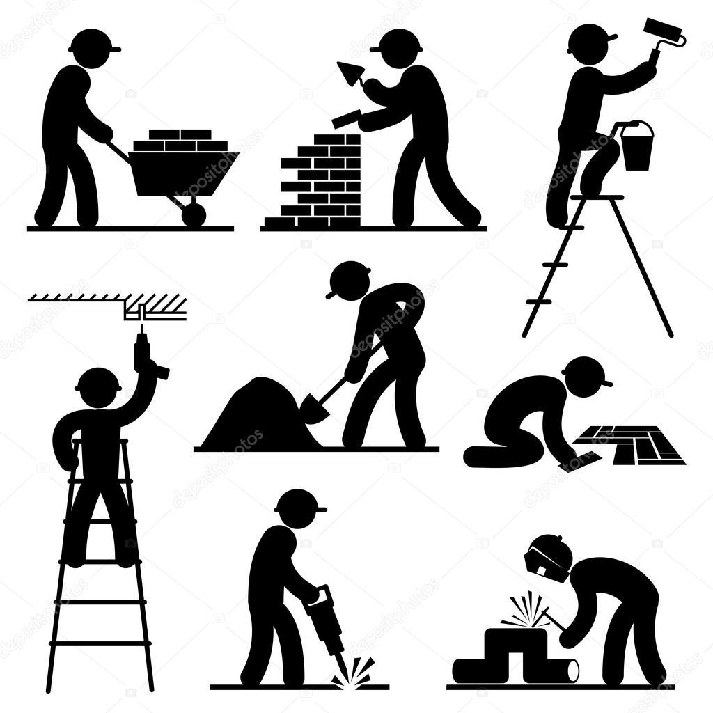 Flooring Contractor Icon : Builder people — stock vector print d