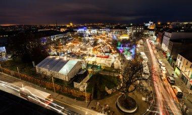 Christmas Market at night, panoramic view
