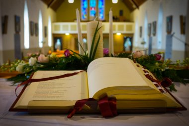 Open Bible in Church. Close up