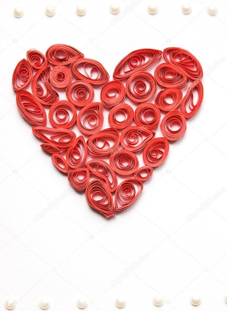 Krause Rotes Herz Aus Papier Hergestellt Stockfoto Chiociolla