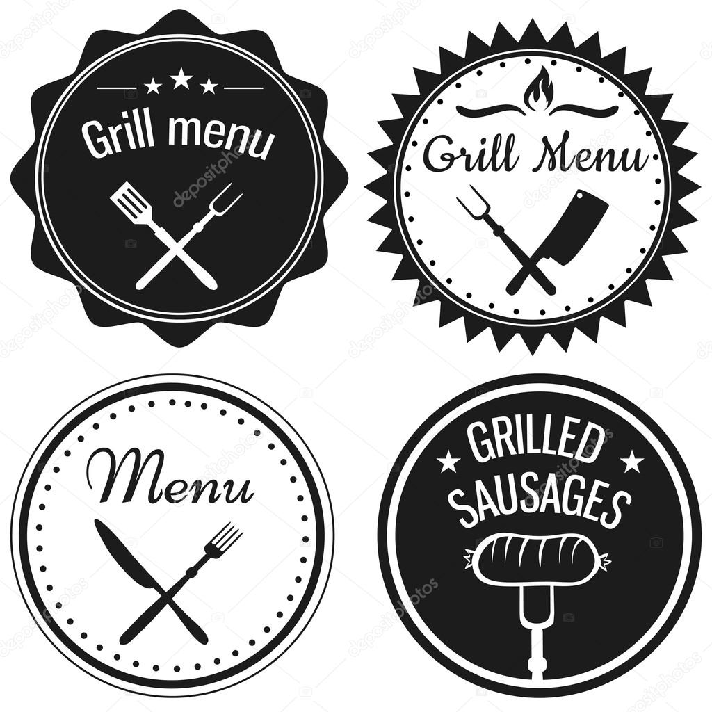 Set of labels for restaurant menu