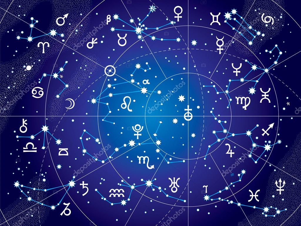 XII Constellations of Zodiac (Ultraviolet Blueprint version)