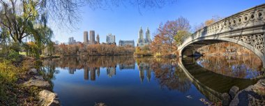Panorama of Central Park with Bow Bridge