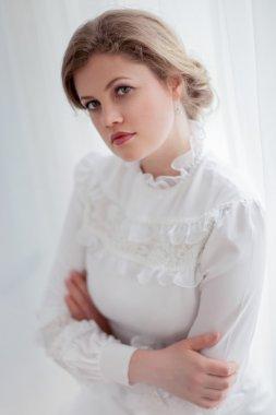 Beautiful woman in white retro dress stock vector