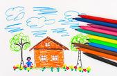 Disegno di bambino e penne