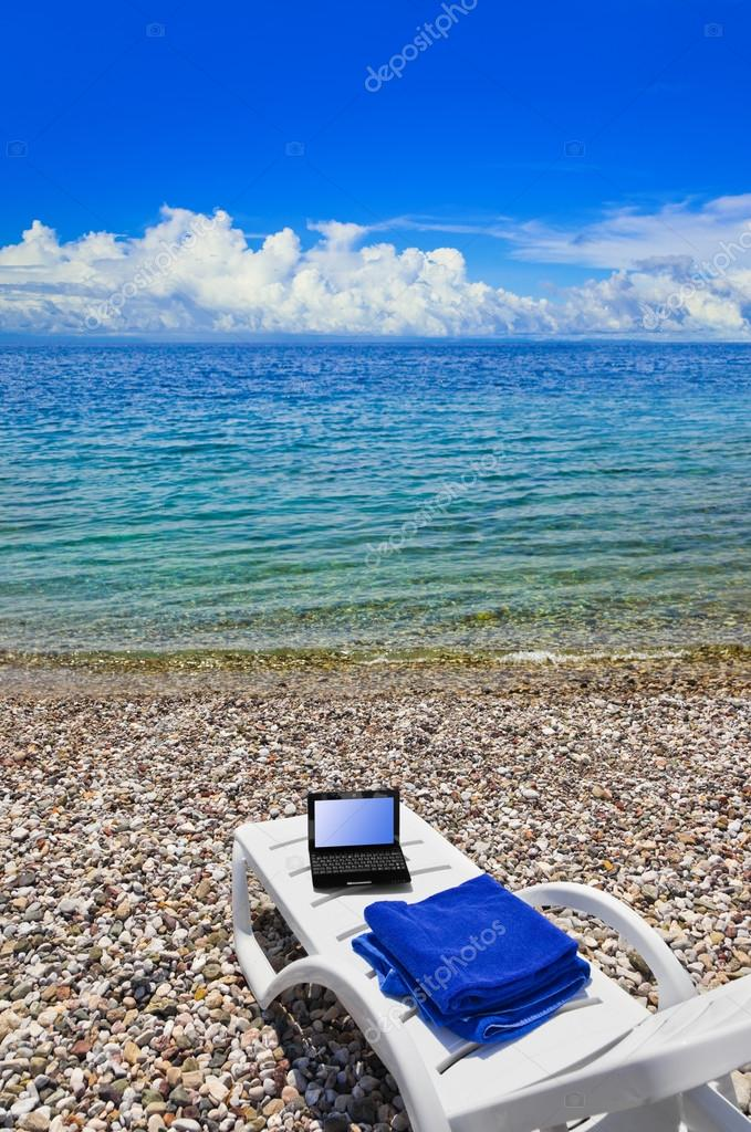 Notebook on beach
