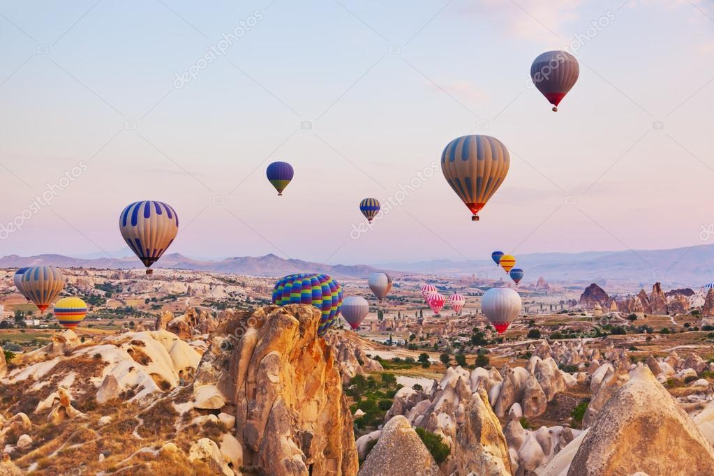 Hot air balloon flying over Cappadocia Turkey