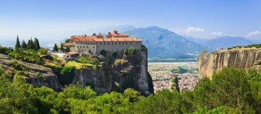 Meteora monastery in Greece - travel background stock vector