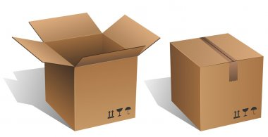 Opened and closed vector cardboard box