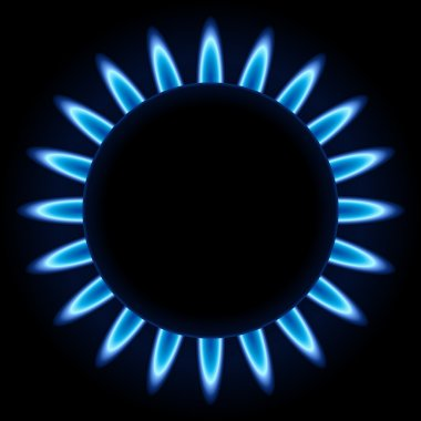 Blue flames ring of kitchen gas burner