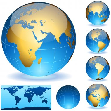Vector Earth globes and detailed shape of the world