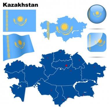 Kazakhstan vector set.