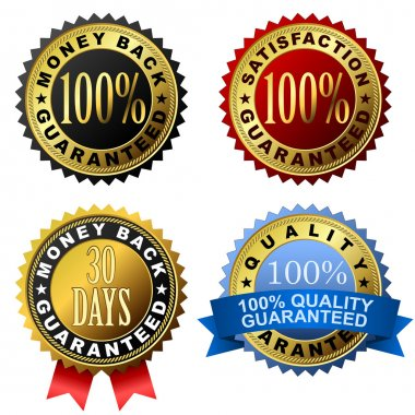 Vector set of 100% guarantee golden labels. clip art vector