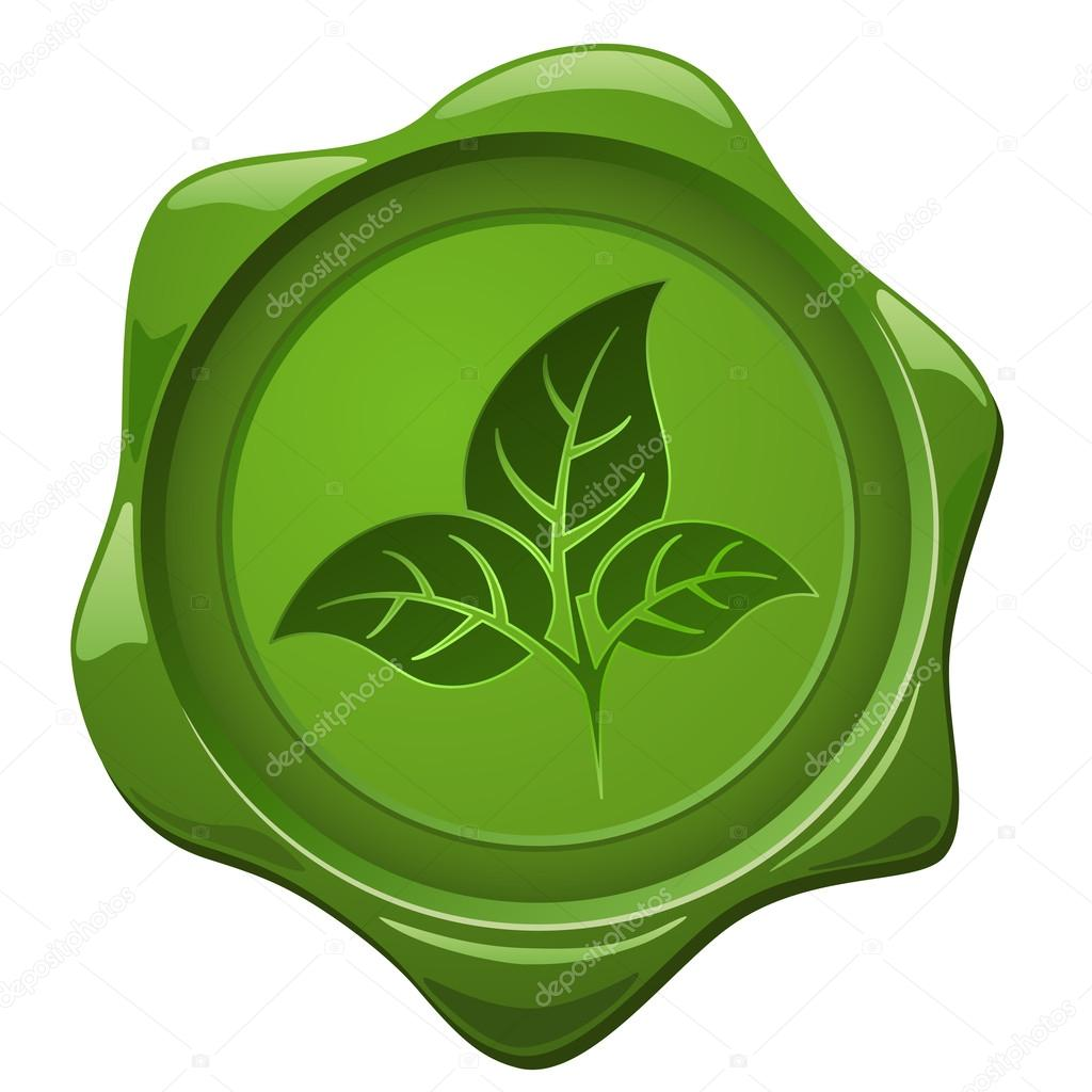 Eco sign. Green wax seal with leaves shape