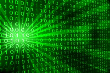 Abstract binary code 3D vector background.
