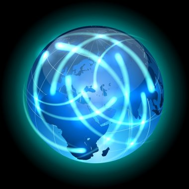 Globe with light traces rotating around.