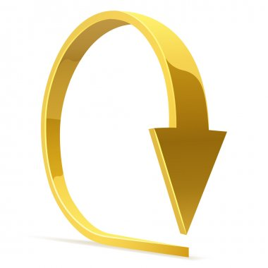 Golden bent arrow - download icon.