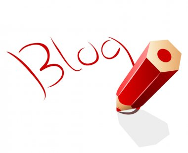 Blog concept vector illustration with red pencil.